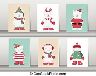 Set of winter cute bear