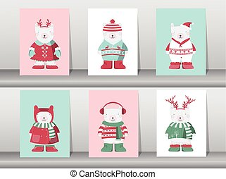 Set of winter cute bear,Vector illustrations