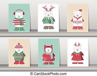 Set of winter cute bear,Vector illustrations