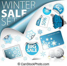 Set of winter discount elements