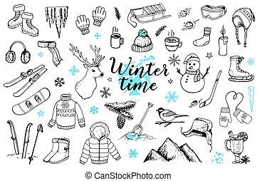Set of winter doodles