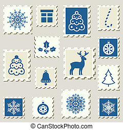Set of winter events postal stamps.