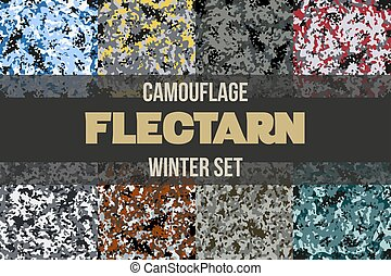 Set of Winter Flectarn Camouflage seamless patterns of...