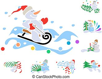 Set of winter holiday decorations with snowmen