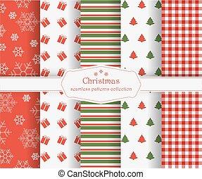 Set of winter holiday seamless patterns