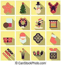 Set of winter New Year and Christmas icons in flat style...
