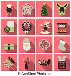 Set of winter New Year and Christmas icons in flat style with shadow
