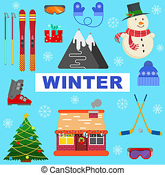 winter objects on blue background