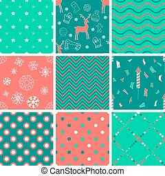 Set of winter seamless patterns
