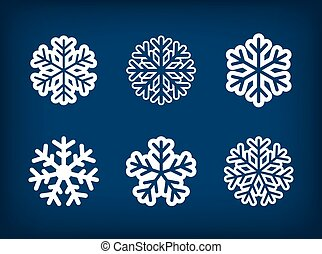 Set of winter snowflake vector illustration.