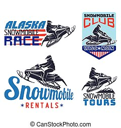 Set of winter snowmobile emblems, badges and icons. - winter...