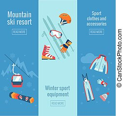 Set of winter sport banners.