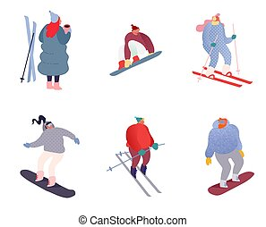 Set of Winter sport people characters. Sportsman on snowboard, skis. Snowboarding, skiing and skating sports. Snowboarder jump, healthy family holiday vacation isolated flat. Vector illustration
