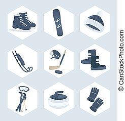 Set of winter sport vector icons