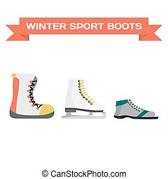 Set of winter sports shoes. Skiing, skating, snowboarding. Flat vector illustration isolated on white background