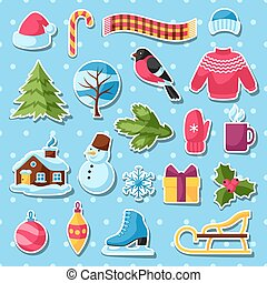 Set of winter stickers. Merry Christmas, Happy New Year holiday items and symbols