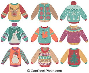 Set of winter sweaters isolate on a white background. Vector graphics.