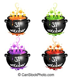 Set of witches cauldrons with colorful brew