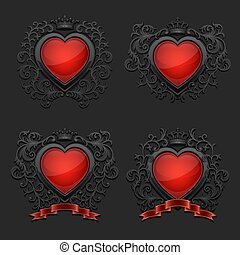 Set of with glossy hearts. Coat of arms