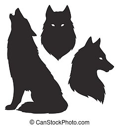 Set of wolf silhouettes isolated. Sticker, print or tattoo...