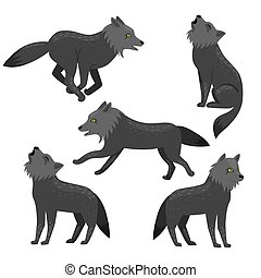 Set of wolves isolated on a white background. Vector graphics.