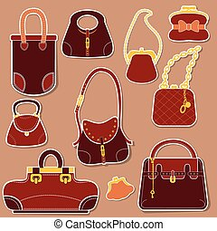 Set of woman bags and handbags.
