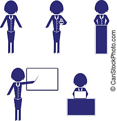 set of woman business icons