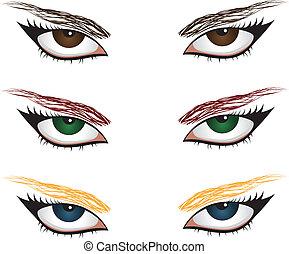 Set of woman eyes