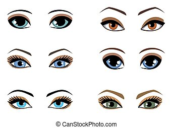 Set of woman eyes of different colors
