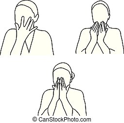 set of woman face massage vector illustration outline sketch hand drawn with black lines isolated on white background