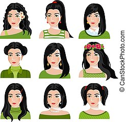 Set of woman faces with various hairstyle.