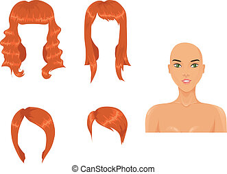 Set of woman haircuts