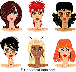 Set of woman portraits, vector illustration