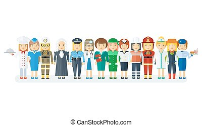 set of woman professions - Set of men and women of various...