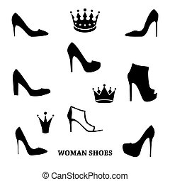 Set of woman shoes silhouettes with crowns.