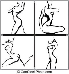 Set of woman silhouettes.