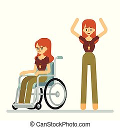 Set of woman sitting in wheelchair and standing with raised arms cartoon style