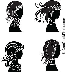 Set of woman with beauty hair
