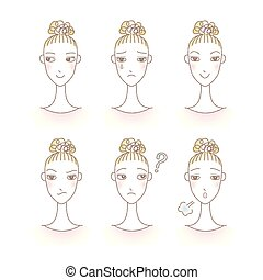 Set of woman's emotions. Facial expression. Girl Avatar.