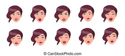 Set of woman's emotions. Girl face with different facial expression collection. Colorful vector illustration in flat style.