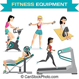 Set of women engaged in exercise in the gym. Vector flat...