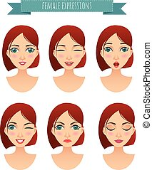 set of women faces with different expressions