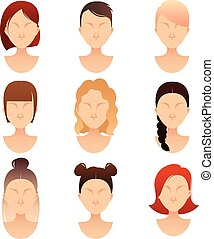 set of women faces with different hairstyles