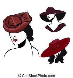 Set of women in hats in black and red colors isolated on white background. Vector graphics