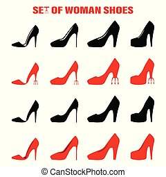 Set of women shoes, isolated vector illustration on white background. Icon
