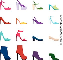 Set of women shoes, vector illustration