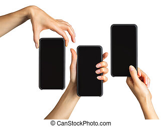 Set of women's hands showing black smartphone