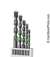set of wood drill bits isolated in white