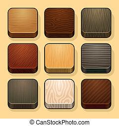Set of wood ios icons