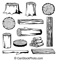Set of wood logs for forestry and lumber industry....